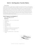 Earthquake Lesson Plans/Teacher Notes
