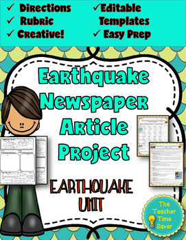 Earthquake Project: Newspaper Article (editable template)