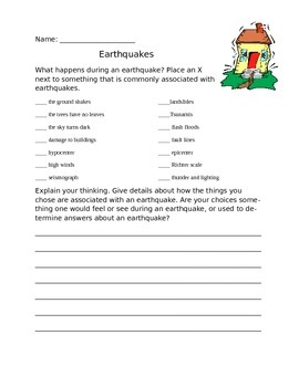 Earthquake Quiz or Worksheet
