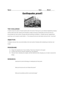 Earthquake STEM lab