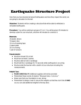 Earthquake Structure Building Project
