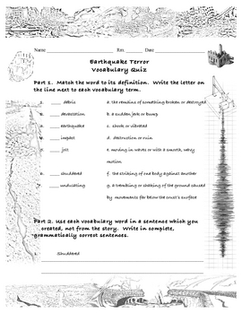 Earthquake Terror, 5th grade Vocabulary Quiz