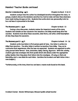 Earthquake Terror by Peg Kehret Activities Handout iPad
