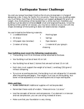 Earthquake Tower Challenge: Student Directions and Rubric (Editable)