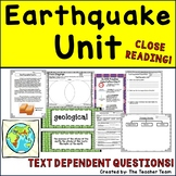 Earthquake Unit Passages with Activities, Reading Passages, Questions, &  Report