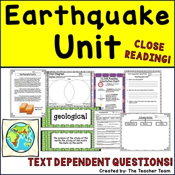 Earthquake Unit ~ Informational Text Close Reading ~Text D