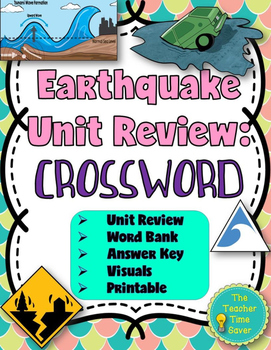Earthquake Unit Review: Crossword puzzle with answer key (