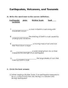 Earthquake, Volcanoes, Tsunamis Test