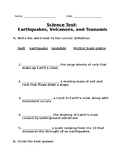 Earthquake, Volcanoes, Tsunamis Test