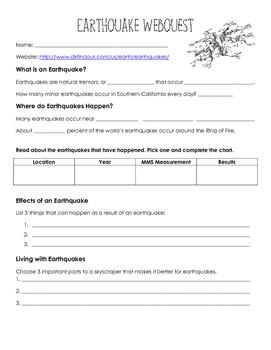 Earthquake Webquest