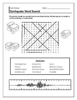 Earthquake Word Search