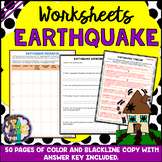 Earthquake Worksheets with Blackline Copy and Answer Key