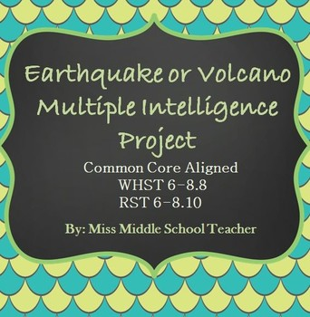 Earthquake or Volcano Multiple Intelligence Project