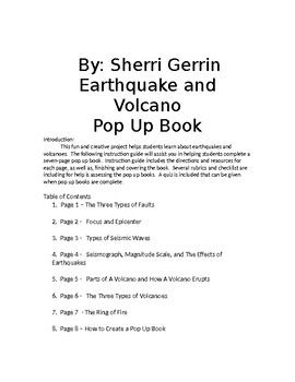 Earthquake and Volcano Pop Up Book by Sherri Gerrin | TpT