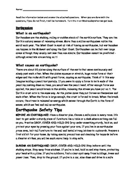 Earthquake basics and safety reading