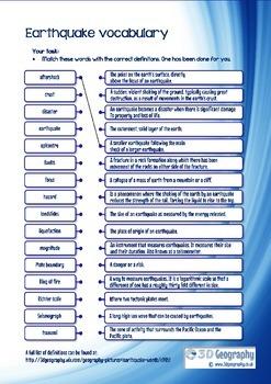 Earthquake vocabulary by Ian Jeffery   Teachers Pay Teachers