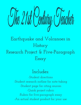 Earthquake and Volcanoes in History Research Project and Five-Paragraph Essay
