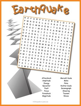 earthquake word search puzzle by puzzles to print tpt. Black Bedroom Furniture Sets. Home Design Ideas