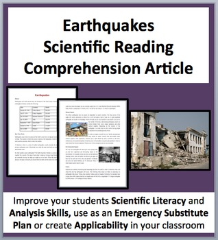 Earthquakes - A Science Reading Article - Grades 8 and above