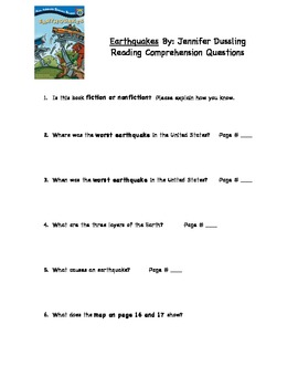 Earthquakes Comprehension Questions
