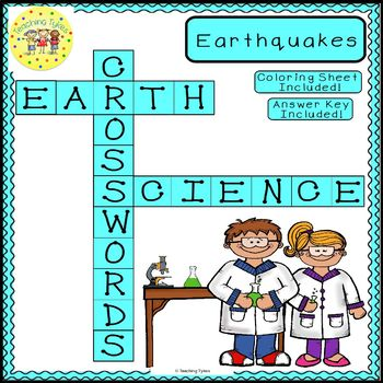 Earthquakes Earth Science Crossword Puzzle Coloring Worksheet Middle School