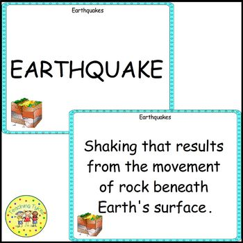 Earthquakes Vocabulary Cards