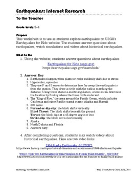 Earthquakes FAQS: Internet Scavenger Hunt