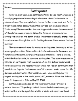 Earthquakes Informational Passage with Comprehension Questions
