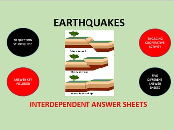 Earthquakes: Interdependent Answer Sheets Activity