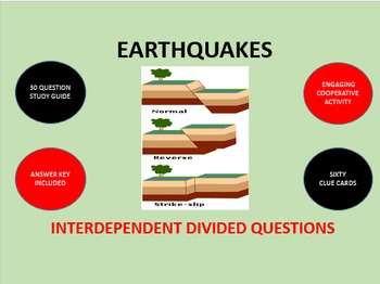 Earthquakes: Interdependent Divided Questions Activity