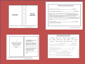 Earthquakes,Mountains& Volcanoes:Interactive Notebook,Projects, and More!