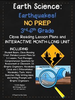 Earthquakes MONTH-LONG UNIT NO PREP Close Reading, Writing