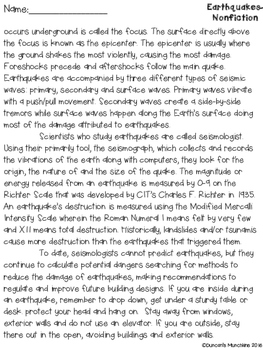 Earthquakes Paired Passages with Text Based Evidence Questions