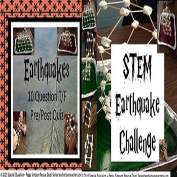Earthquakes Quiz & STEM Earthquake Simulation Challenge SPED/ED/OHI/VI/ESL