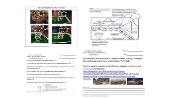 Earthquakes Quiz & STEM Earthquake Simulation Challenge SPED/ED/OHI/VI/ESL