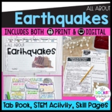 Earthquakes Reading Booklet, Worksheets, STEM activity, Earthquake Research