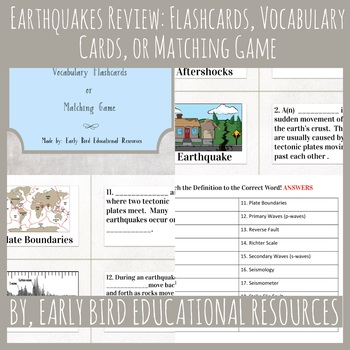 Earthquakes Review: Flashcards, Vocabulary Cards, or Matching Game