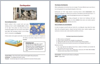 Earthquakes - Scientific Reading Comprehension Article – Grades 5-7