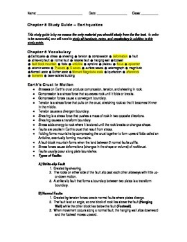 Earthquakes - Study Guide and Test Package