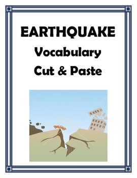 EARTHQUAKES VOCABULARY CUT AND PASTE