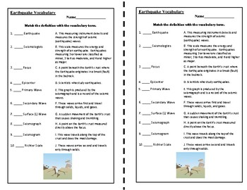 EARTHQUAKES VOCABULARY CUT AND PASTE by Merry in the Middle   TpT