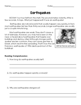 Earthquakes, Volcanoes, and Author's Purpose!
