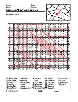 Earthquakes Word Search and Word Scramble Printable Worksheets