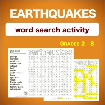 Earthquakes * WordSearch * Vocabulary*
