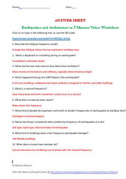 Geography: Earthquakes and Architecture in Five Minutes Video Worksheet