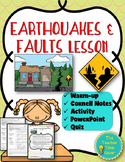 Earthquakes and Faults Lesson- Worksheet Activity and Printable Notes