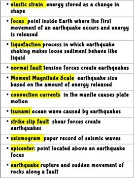 Earthquakes and Faults Vocabulary Review
