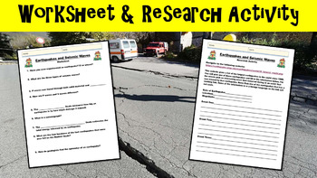 Earthquakes No Prep Lesson with Power Point, Worksheet, and Research Prompt