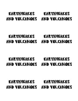 Earthquakes and Volcanoes Game