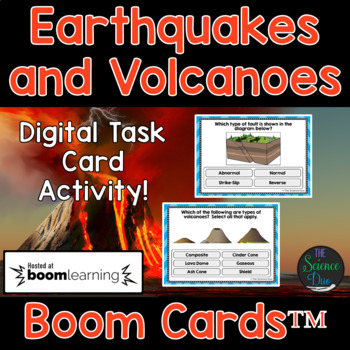 Earthquakes and Volcanoes Task Cards - Digital Boom Cards™